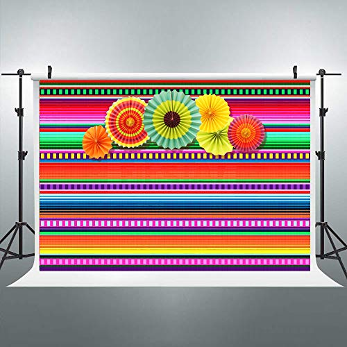 Riyidecor Mexican Fiesta Backdrop Photobooth Mexico Cinco De Mayo Photography Background with 6 Paper Fan 7X5ft Banner Decorations Birthday Festival Luau Event Props Photo Shoot Vinyl Cloth]()