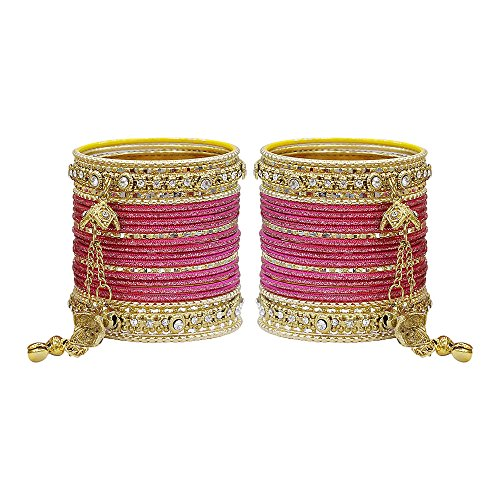 (MUCH-MORE Gorgeous Collection Fashion Made of Latkan Bangles for Women & Girls (Carrot, 2.4))