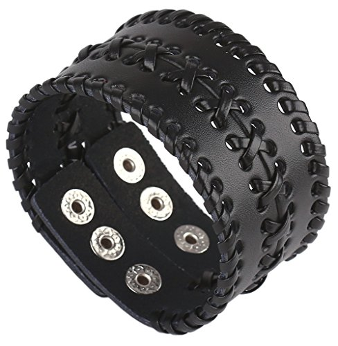 Hamoery Men Leather Bracelet Punk Braided Rope Alloy Bracelet Bangle -
