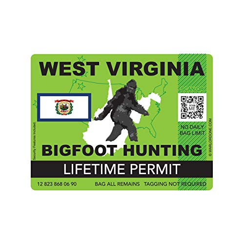 fagraphix West Virginia Bigfoot Hunting Permit Sticker Die Cut Decal Sasquatch Lifetime FA Vinyl - 4.00 Wide