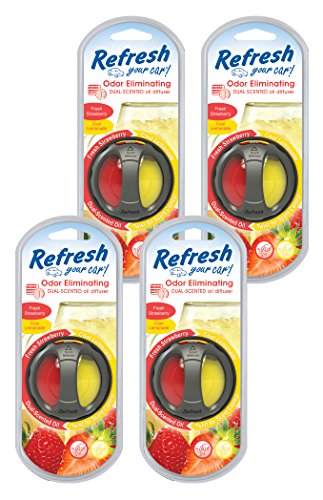 (Refresh Your Car! 84022 Scented Oil Diffuser, Fresh Strawberry/Cool Lemonade, 4-Pack)