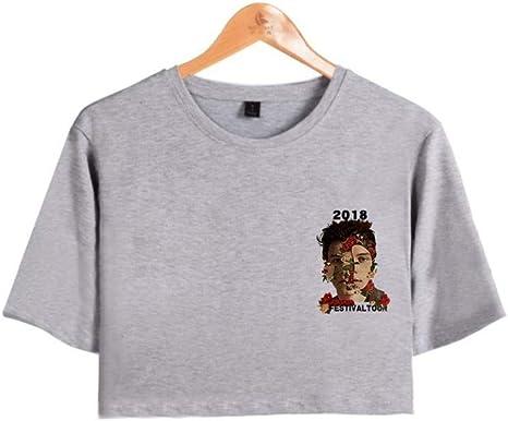 CWHao Camiseta Popular Europea Y Americana Camiseta Corta de Manga Corta Camiseta Moda Mujer, Gris, SG: Amazon.es: Deportes y aire libre
