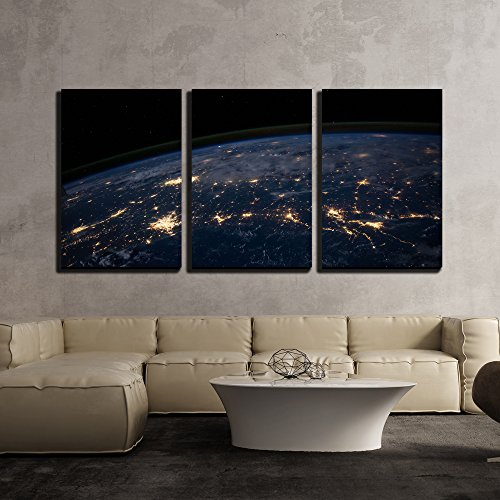 Planet Earth from the Space at Night x3 Panels