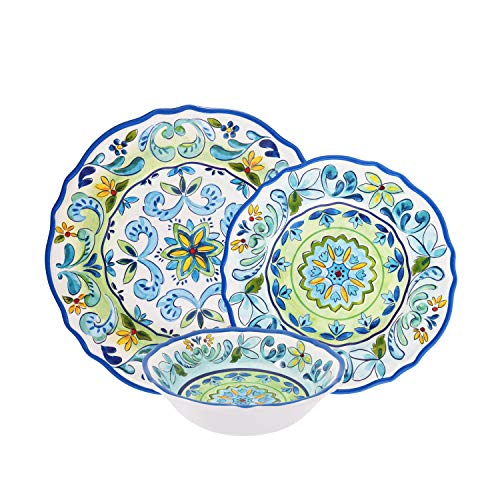 - First Design Global DNS0819 Decorative Vintage Floral 12 Piece Melamine Dinnerware, Unique Dish Set for Parties or Everyday Use, Service for 4