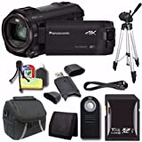 Panasonic HC-WX970 4K Ultra-HD Camcorder with Twin Video Camera + Universal Wireless Remote Shutter Release + 16GB SDXC Card + Tripod + Mini HDMI Cable + Case + Card Reader + Card Wallet Saver Bundle