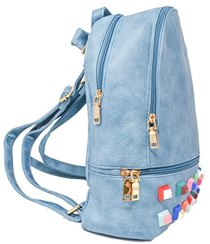 Borse Blu Borchie Similpelle Zaini grigio Con In Donna Borsa rC8rq