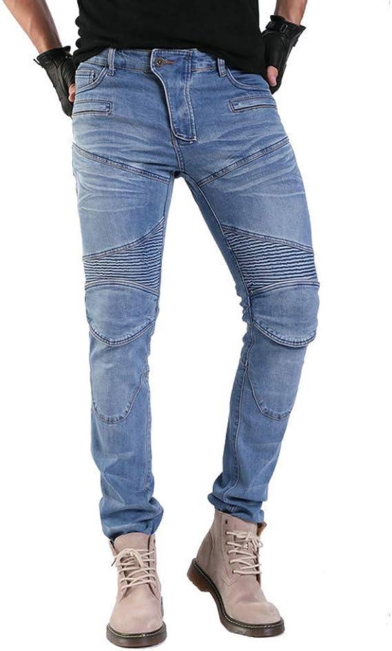 GELing Herren Motorradr/üstung Biker Motorrad Denim Hose Jeans Horn Cargo ,Blau,M
