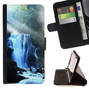 BullDog Case - FOR/Samsung Galaxy S6 EDGE / - / Waterfall /- Monedero de cuero de la PU Llevar cubierta de la caja con el ID Credit Card Slots Flip funda de cuer