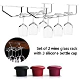 2PC Wine Glass Rack For Cabinet,  -3X Silicone Bottle Cap - Glasses Drying Holder Bar Furniture Counter,  Stemware Hanging Steel Storage, Champagne Chrome Wall Mounted Organizer Kitchen Commercial Set