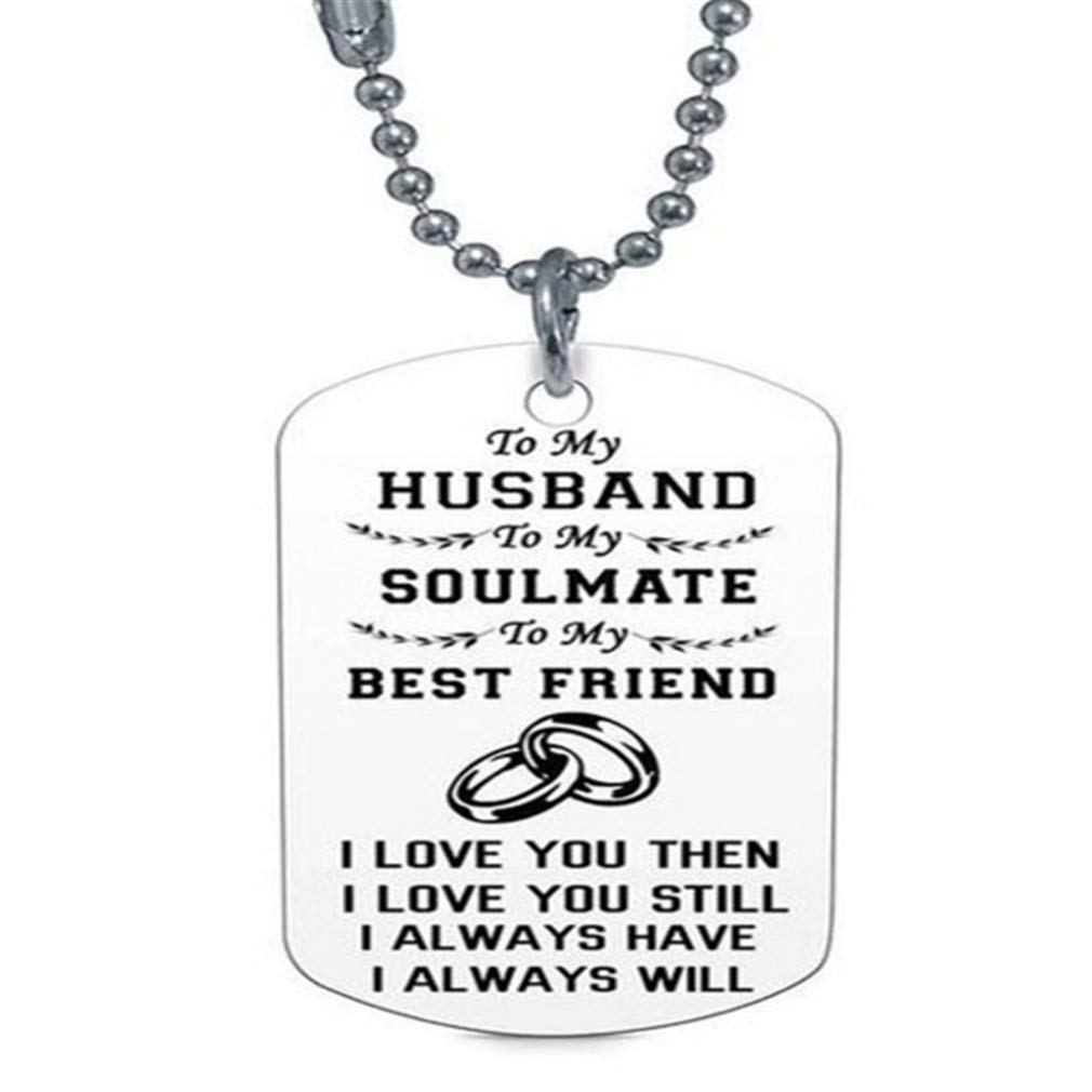 Dolland to My Love Wife Husband Soulmate Bestfriend Dog Tag Necklace Stainless Steel Military Dogtags Necklaces,to My Husband