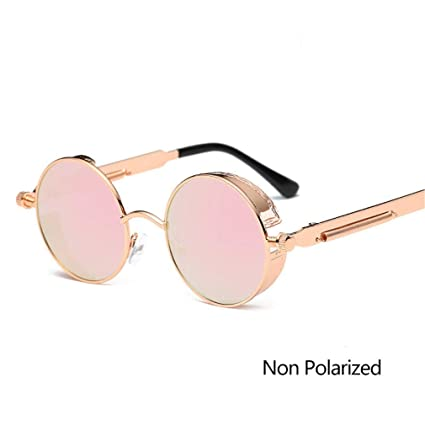 ab556c2d4b1 Vintage Round Polarized Sunglasses Retro Steampunk Sun Glasses For Men  Women Small Metal Circle Driving Glasses