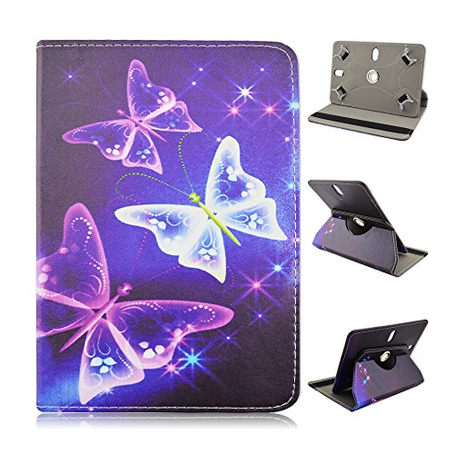 "Ematic Genesis Prime 8"" 8 inch Tablet Neon Butterflies Universal Case Cover - Adjustable 360 Rotating Stand Design -  EZBazar"