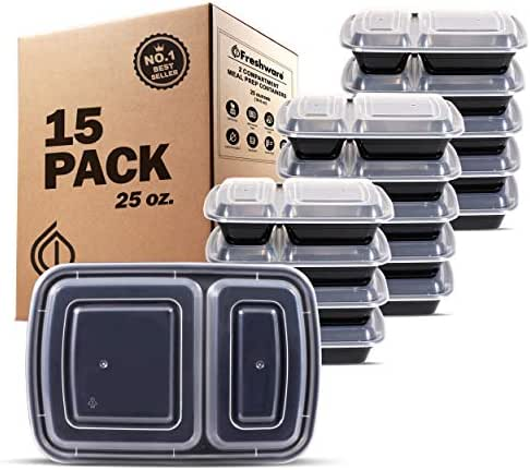 Freshware Meal Prep Containers [15 Pack] 2 Compartment with Lids, Food Containers, Lunch Box | BPA Free | Stackable | Bento Box, Microwave/Dishwasher/Freezer Safe, Portion Control, 15 day fix (25 oz)