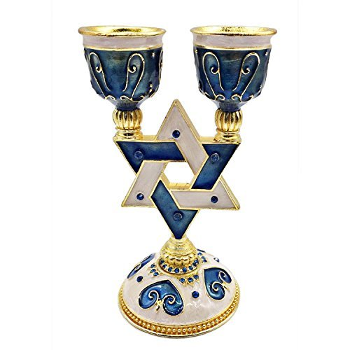 Gorgeous Blue Star of David Shabbat Candle Holder Gold Accents Embellished with Genuine Crystals Comes in a Beautiful Gift Box