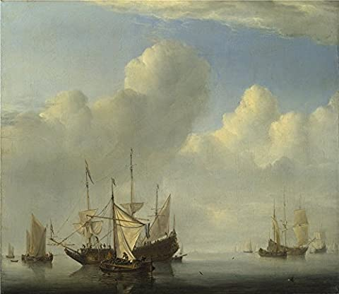 Polyster Canvas ,the Reproductions Art Decorative Canvas Prints Of Oil Painting 'Willem Van De Velde A Dutch Ship Coming To Anchor ', 8 X 9 Inch / 20 X 23 Cm Is Best For Living Room Gallery Art And Home Artwork And (Coming To America Blu)
