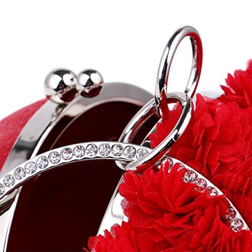 femme à pour mariage saisons Sac Sac Soirée Sac événement YAN d'embrayage à Soirée main pour pour mariage Sacs Red Fleurs toutes Red fête les bandoulière enveloppe 5fYnqwx