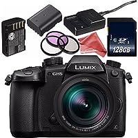 Panasonic Lumix DC-GH5 Mirrorless Digital Camera with 12-60mm 2.8-4 Lens + Lithium Ion Battery + 128GB SDXC Class 10 Memory Card + DigitalAndMore Ultra Gentle Microfiber Cloth
