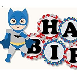 "Superhero Birthday Banner Party Decoration - Batman & Superman ""HAPPY BIRTHDAY"" Garland - Handmade in USA"