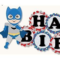"Superhero Birthday Banner Party Decoration - Batman & Superman ""HAPPY BIRTHDAY"" Garland - Handmade in USA"