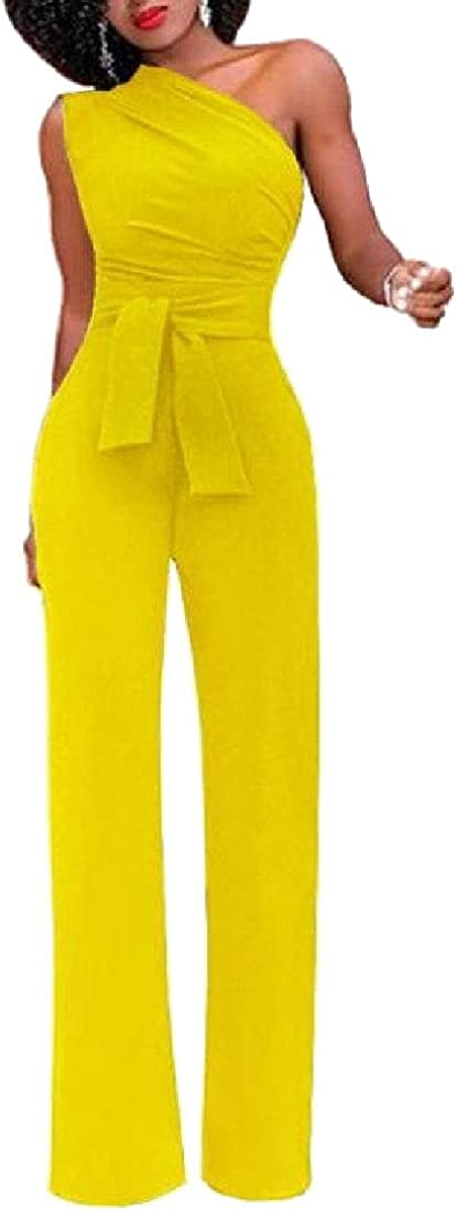 Jmwss QD Womens One Shoulder Jumpsuits High Waisted Wide Leg Pants with Belt