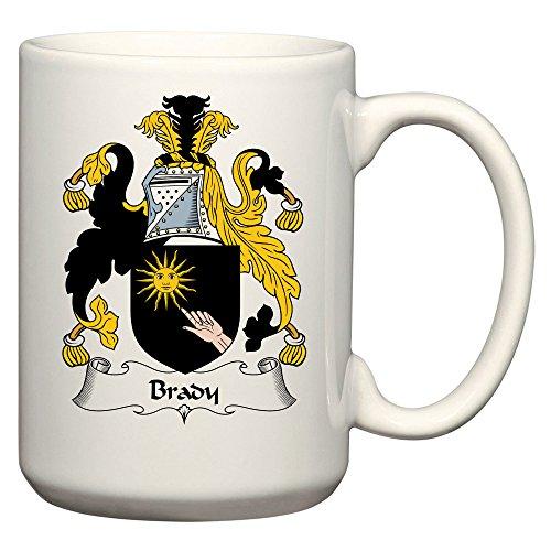 (Brady Coat of Arms/Brady Family Crest 15 Oz Ceramic Coffee/Cocoa Mug by Carpe Diem Designs, Made in the U.S.A.)