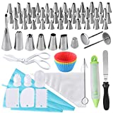 AUSTOR 100 Pieces Cake Decorating Tips Kit Stainless Steel Piping Nozzles Cupcake Mould Cake Icing Bags and Nozzles Set