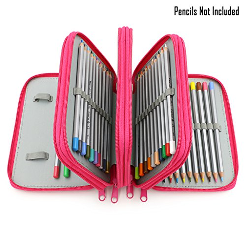 BTSKY Colored Pencil Case with Compartments-72 Slots Handy Pencil Bags Large for Watercolor Pencils, Gel Pens and Ordinary Pencils (Pink)