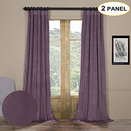 Artdix Blackout Curtains Panels Window Drapes - Fresh Violet 50W x 108L Inches (2 Panels) Velvet Lined Back Tab Nursery Insulated Solid Thermal Custom Curtains For Bedroom, Living Room, Kids Room