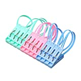 Mosichi 12Pcs Clothespins Colorful Portable Clothing Clips Clamps Laundry Folder with Rope (Random Color)