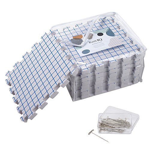 KnitIQ Blocking Mats for Knitting – Extra Thick Blocking Boards with Grids with 100 T-pins and Storage Bag for Needlework or Crochet - Pack of 9