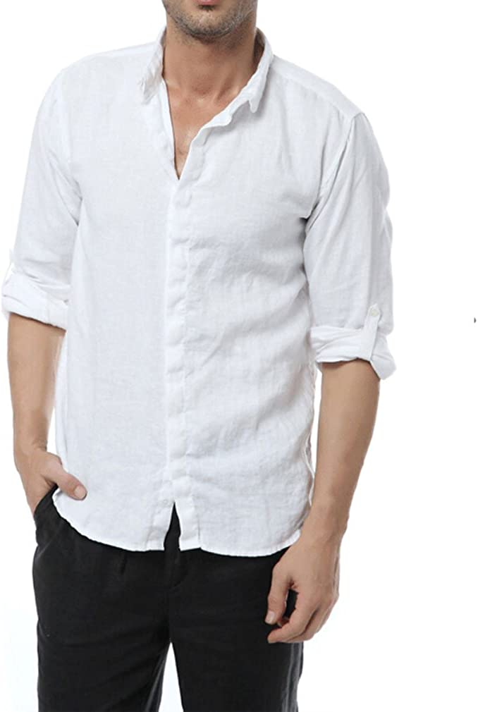Najia Symbol Casual Manche Longue 100/% Lin Chemise Homme 303