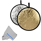 Fomito 2 in 1 Gold/Silver 80cm 32inch Collapsible Reflector Diffuser Multi Foldable Studio Reflector Portable Photo Reflector Board for Photography Studio & Outdoor Lighting Control