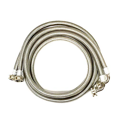 2-Pack Premium Stainless Steel Washing Machine Hoses - 5 FT No-Lead Burst Proof Water Inlet Supply Lines - Universal 90 Degree Elbow Connection - 10 Year Warranty