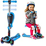 Scooter for Kids with Folding/Removable Seat - 2 in 1 Adjustable Height, 3 LED Light Wheels, Kick Scooter for Girls & Boys - Best Children Scooter 4 Babies and Toddlers Ages 2 Years Old and Up