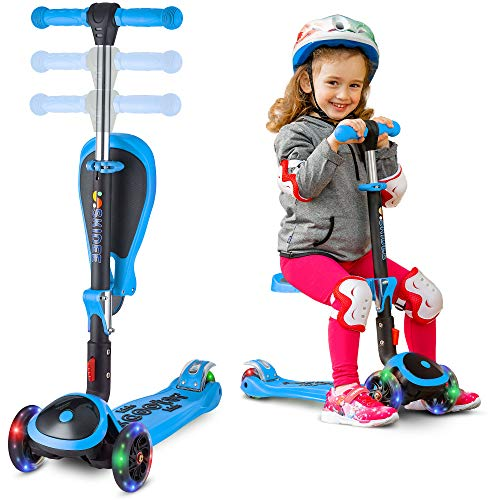SKIDEE Scooter for Kids with Folding Seat - 2-in-1 Adjustable 3 Wheel Kick Scooter for Toddlers Girls & Boys - Fun Outdoor Toys for Kids Fitness, Outside Games, Kid Activities - Y200