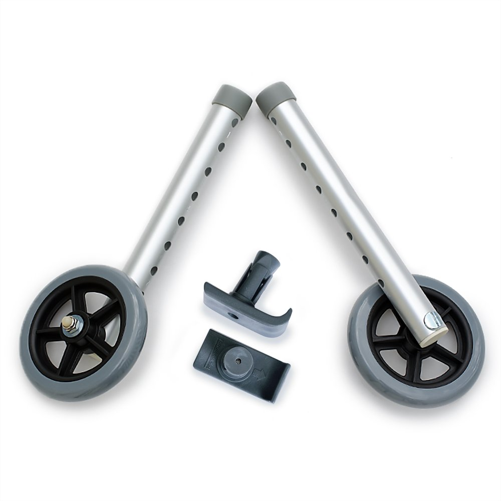 DELUXE Universal Walker Wheel Kit: 5 Inch Sport Wheels and FREE FlexFit Ski Glides ($8 value) by Top Glides