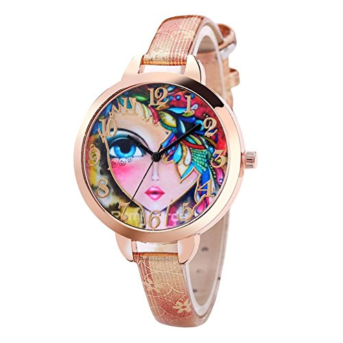 - Hunputa Fashion Faux Leather Band Multicolor 3D Girl's Face Printed Dial Analog Quartz Round Wrist Watches Gift (Beige)