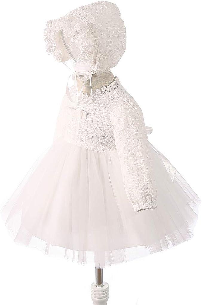 Xopzsiay Baby Girls Winter Long Sleeve Floral Lace Velvet Inner Christening Baptism Dress