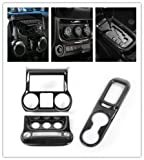 Highitem Carbon Fiber Interior Decoration Front Cup Holder Cover Center Control Panel Cover Air Conditioner Switch Cover Trim for Jeep Wrangler 2011-2017