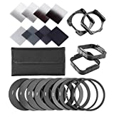 Neewer® Complete ND Filter Kit for Cokin P Series, includes (8)Neutral Density ND Filter Set (Full ND2 ND4 ND8 ND16; Graduated G.ND2 G.ND4 G.N8 G.ND16),(9)Metal Adapter Ring(49mm/52mm/55mm/58mm/62mm/67mm/72mm/77mm/82mm),(2)Square Filter Holder, (2)Square Lens Hood,(1)Filter Carry Pouch