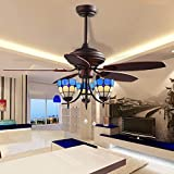 Akronfire Modern Tiffany Ceiling Fan Lamp for Living Room Dining Room Bedroom Pull Chain Control with 3 Light Cover 5 Reversible Wood Blades of Mute Electric Fan Light 52-Inch