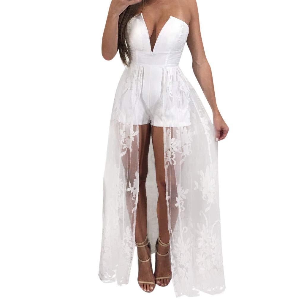 Sharemen New Women's Sling V-Neck Sex Dress Summer Lace Temperament Stitching Dress Solid Color Shorts(White,M)