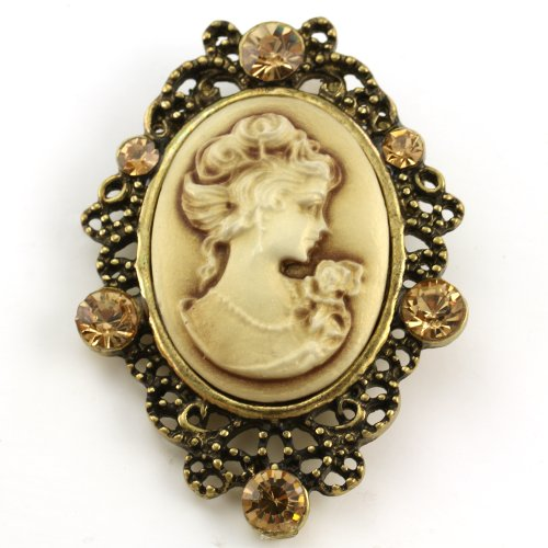 Brown Cameo Brooch Pin Charm Women Fashion Jewelry Necklace Pendant Compatible