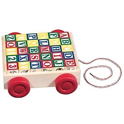 Classic Wood Cart with ABC Blocks [Toy]: Toys & Games