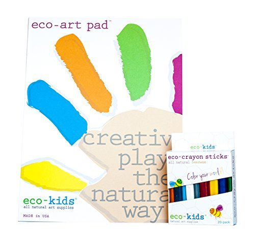 Eco-Kids Non-Toxic Art Pad and 20 Pack Natural Eco Crayon Sticks Set made in New England