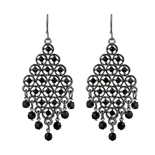 D EXCEED Gift Idea Jet Black Crystal Dangle Drop Earrings Chandelier Charm Ear Accessory for Women and Ladies Pewter