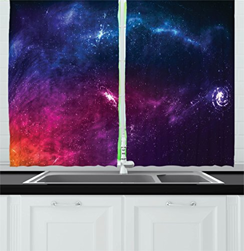 Ambesonne Outer Space Decor Kitchen Curtains, Spiritual Planetary Galaxy Back with Milky Way Stardust Cosmos Concept, Window Drapes 2 Panels Set for Kitchen Cafe, 55W X 39L Inches, Blue Purple For Sale