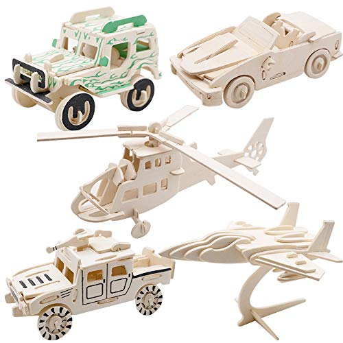 - LoveInUSA 3D Wooden Puzzle,5 Style 3d Traffic Transportation Model Kits 3d Puzzle Kids Wooden Project Kits for Kids Adults Explore Creativity / Problem Solving