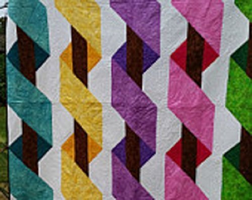 Image of Home and Kitchen Twin Size Ribbon Play Pieced Quilt