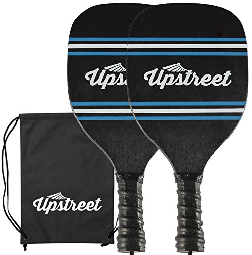 Wood Pickleball Set by Upstreet | 7 ply Maple Construction | Micro-dry Racket Grip | Bundle Includes Paddle Carrying Bag